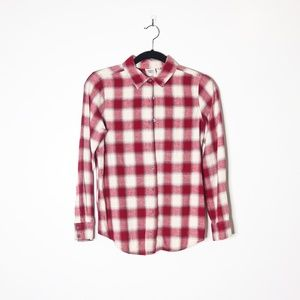 Red Plaid Women's Button Up Collar Flannel S